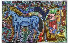Robert COMBAS - Painting - The grand prix of the wood horses