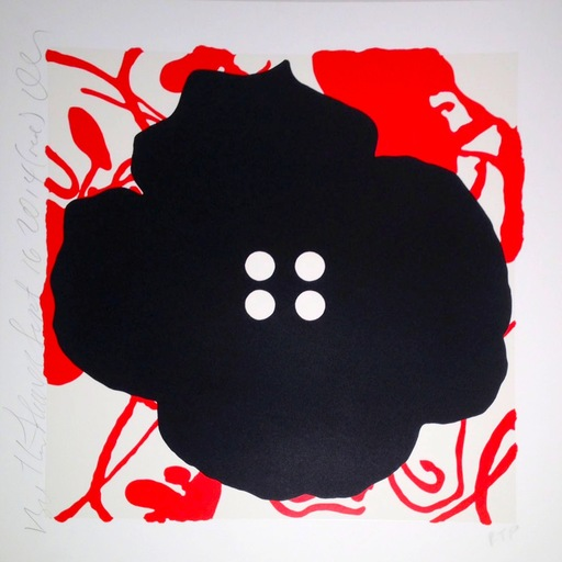 Donald SULTAN - Grabado - Button Flower Red
