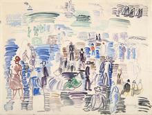 Raoul DUFY - Dessin-Aquarelle - Bord de mer animé