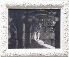 "Alexander ROTHAUG - Drawing-Watercolor - ""Scene in Temple"", early 20th Century, Design for a Movie"