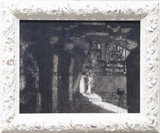"Alexander ROTHAUG - Disegno Acquarello - ""Scene in Temple"", early 20th Century, Design for a Movie"