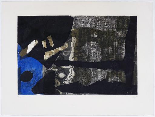 Antoni CLAVÉ - Grabado - Ocre, noir et bleu