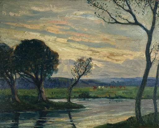Edward CHAPPEL - Painting - Flusslandschaft in der Dämmerung mit Kühen