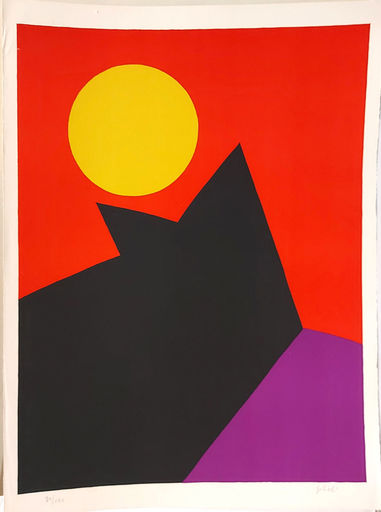 Émile GILIOLI - 版画 - Composition, Landscape with red Sun