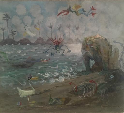 Orlando ROULAND - 绘画 - Fantasy creatures at the ocean