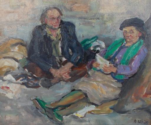 Renée UNIK - Painting - Les clochards
