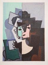 Pablo PICASSO - Print-Multiple - Portrait de Face sur Fond Rose et Vert