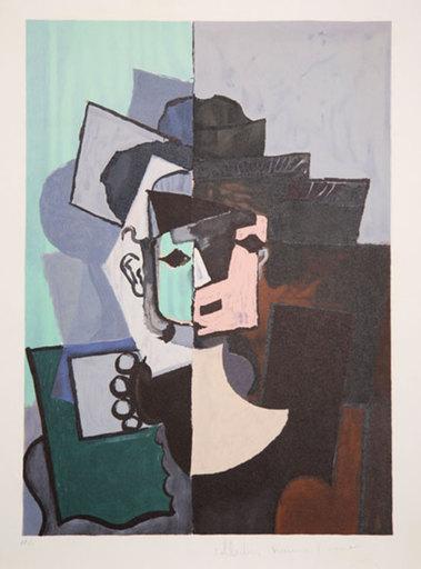 Pablo PICASSO - Stampa Multiplo - Portrait de Face sur Fond Rose et Vert