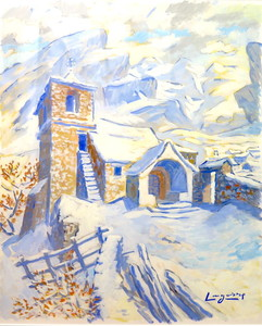 René Gaston LAGORRE - Dessin-Aquarelle - chapelle pyrénéenne sous la neige