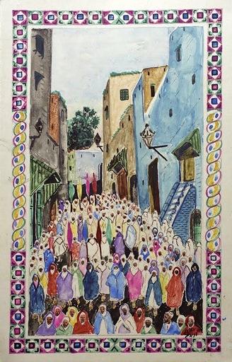 Mohamed BEN ALI R'BATI - 水彩作品 - MAROC- Pèlerinage - fête