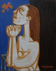 Giuseppe MIGNECO - Peinture - Donna al balcone