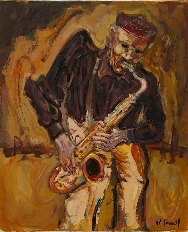 William FENECH - Peinture - le saxophoniste
