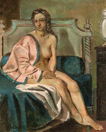 BALTHUS - Peinture - Nu à la veste rose, la rêveuse