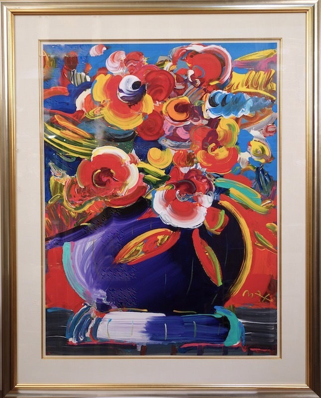 Peter MAX - Painting - Flowers in a Blue Vase II #1