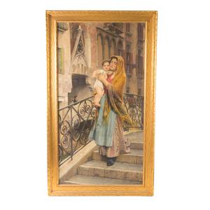 Luigi FERRAZZI - Pintura - Mother and Child Descending Staircase