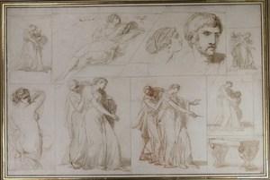 François André VINCENT - Drawing-Watercolor - Etudes pour Aria et Poetus