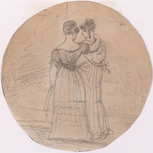 "Peter FENDI - Drawing-Watercolor - ""Friends"", Drawing, First Half of the 19th Century"