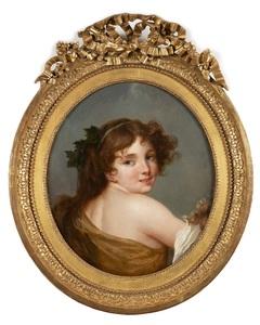 Jean-Baptiste GREUZE - Pittura - Portrait d'une bacchante