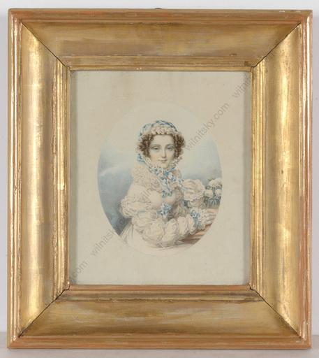 """Friedrich Johann Gottlieb LIEDER (Attrib.) - Zeichnung Aquarell - """"Princess Jeannette Ivanovna Lopukhina"""", Watercolored Lithog"""