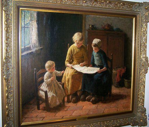 Bernard POTHAST - Pintura - Drie kinderen aan het lezen