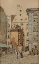 "Rudolf SCHIMA - Drawing-Watercolor - Schima""Motive of Old Vienna"", Watercolor, Early 20th Century"