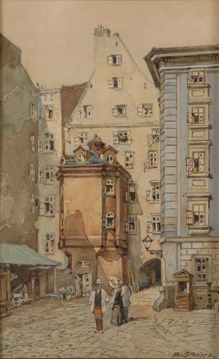 "Rudolf SCHIMA - Drawing-Watercolor - Schima""Motive of Old Vienna"", Watercolor, Early 20th Century"