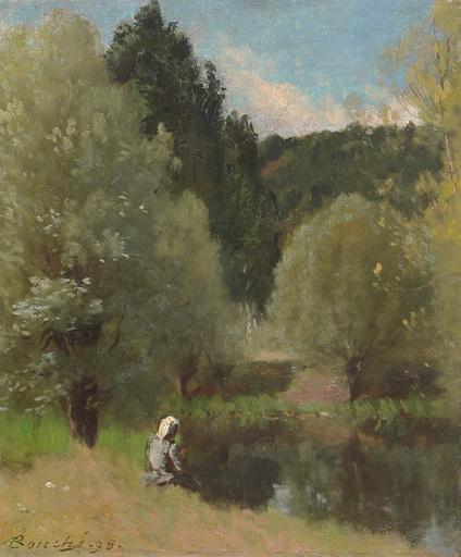 Louis Alexandre BOUCHÉ - Gemälde - Femme assise au bord de d'eau, 1899