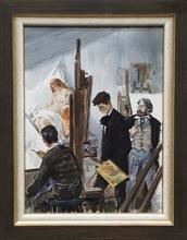 "Lev Michailovitsch KHAILOV - Dessin-Aquarelle - ""Young Painter"" by Lev Khailov, ca 1960"