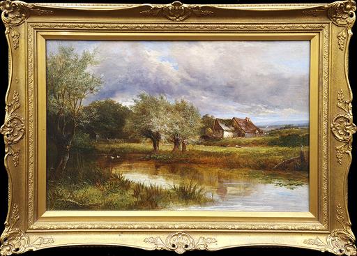 Joseph THORS - Pittura - A Farmyard Pond