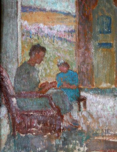 Maurice RUFFIN - Painting - Le printemps ou Femme et enfant