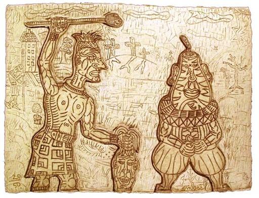 贡巴斯 - 版画 - Tête de poire et artiste Givré III