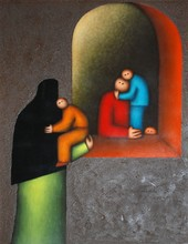 Jésus Mariano LEUUS - Pintura - Mujeres Platicando (Women Conversing)