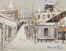 莫里斯•郁特里罗 - 水彩作品 - Maquis sous la neige, Montmartre