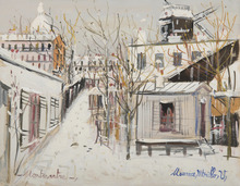 Maurice UTRILLO - Disegno Acquarello - Maquis sous la neige, Montmartre