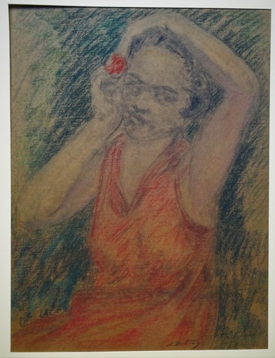 Léon DETROY - Disegno Acquarello - Jeune femme à la fleur