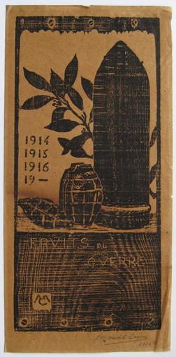 Michel CAZIN - Grabado - LITHOGRAPHIE SIGNÉE CRAYON 1916 HANDSIGNED LITHOGRAPH GUERRE