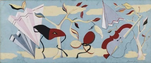 Leonor FINI - Gemälde - Fregio con Maschere