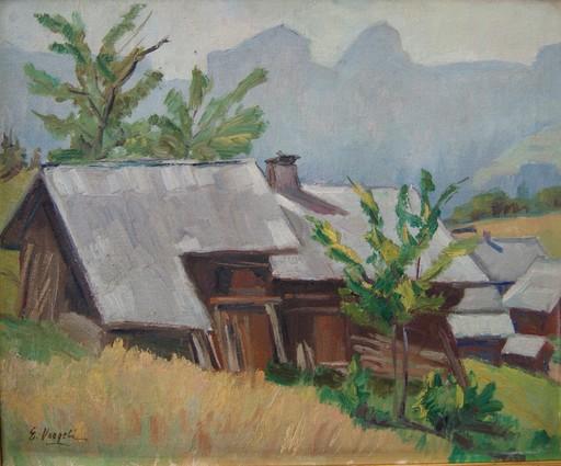 Ernest VOEGELI - Painting - Chalet de montagne, la Forclaz. Alpes Suisse