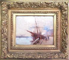 Eugène GALIEN-LALOUE - Painting - Vue de port