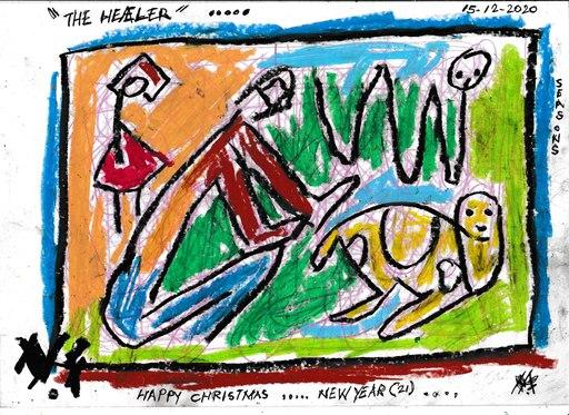 Harry BARTLETT FENNEY - Drawing-Watercolor - seasons greetings #8 (2020) the healer