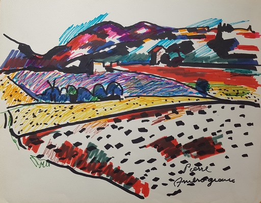 Pierre AMBROGIANI - Zeichnung Aquarell - Paysage