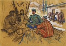 "Valentin Aleksandroh LISENKOV - Dessin-Aquarelle - ""Drinking Tea in Samarkand"" by Valentin Lisenkov, 1960's"