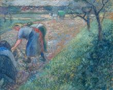 Camille PISSARRO - Drawing-Watercolor - Travailleurs des champs, Pontoise