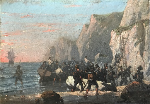Eugène Modeste Edmond LE POITTEVIN - Peinture - Landing of Napoleonic troops