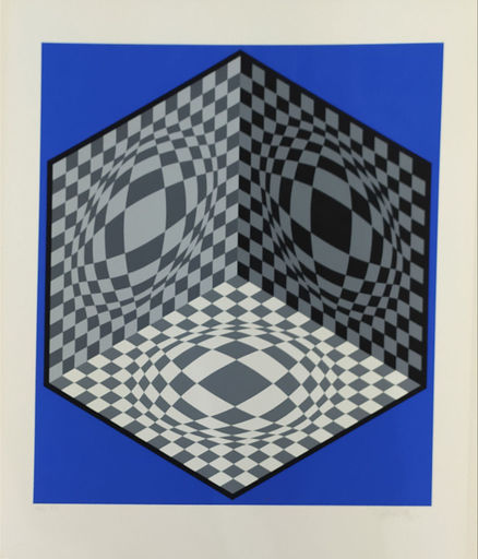 Victor VASARELY - Print-Multiple -  Cube on Blue background