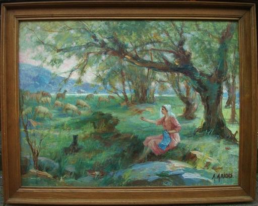 Auguste ARIDAS - Painting - Bergère et son troupeau en Limousin