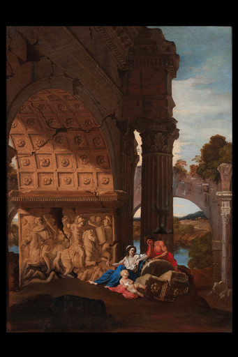 Jean LEMAIRE-POUSSIN - Painting - Landscape with triumphal arch