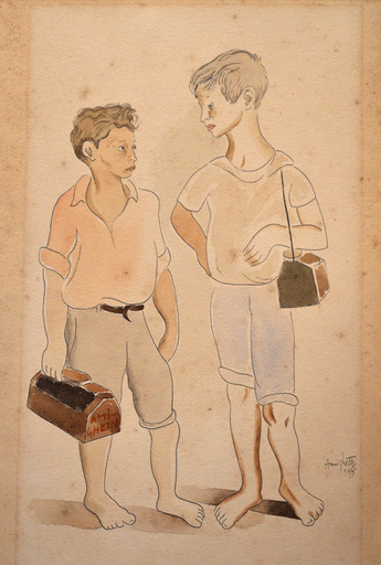 Francisco AMIGHETTI RUIZ - Dibujo Acuarela - Ninos