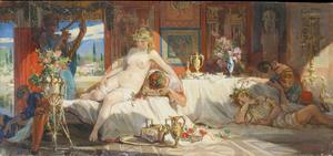 Dezsoe RAKSSANYI - Painting - Scena conviviale