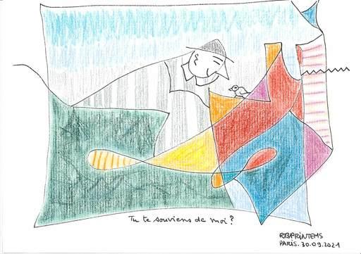 "Reine BUD-PRINTEMS - Zeichnung Aquarell - ""Tu te souviens de moi ?"""